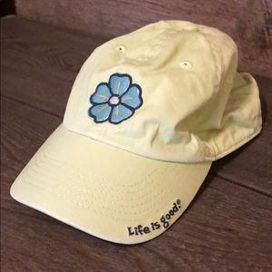 Life is Good baseball hat with flower